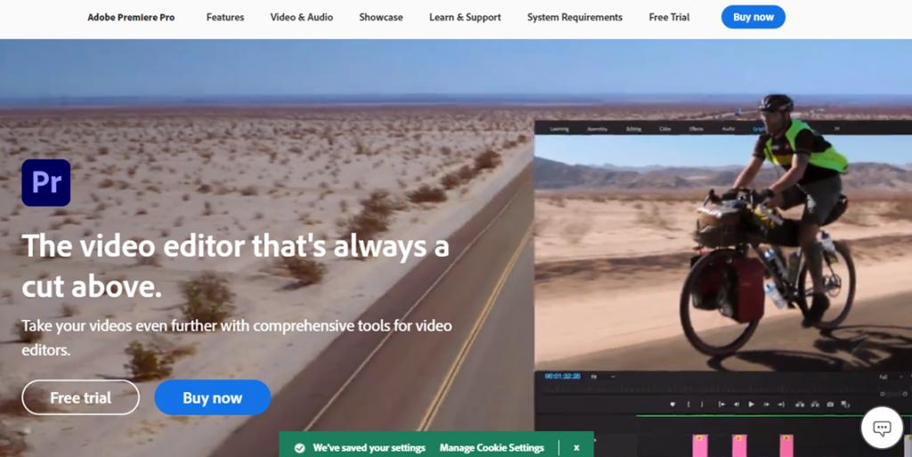 Adobe Premier Pro homepage