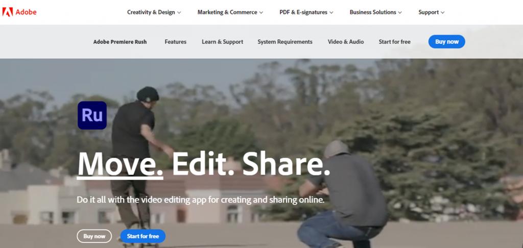 Adobe Premiere Rush homepage