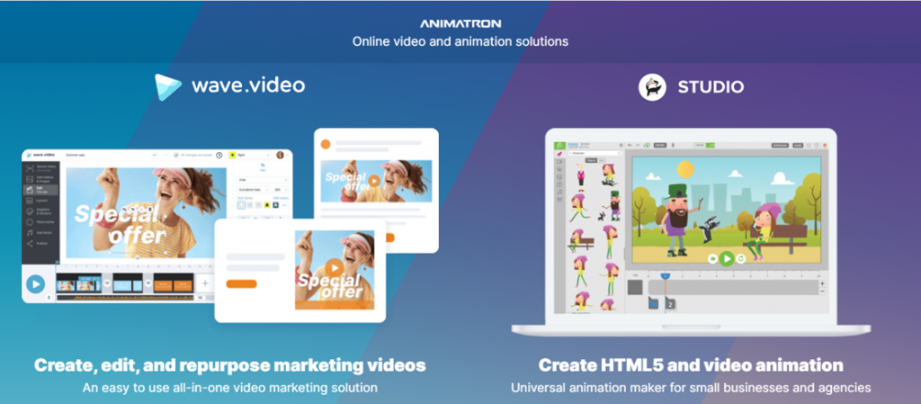 Animatron homepage