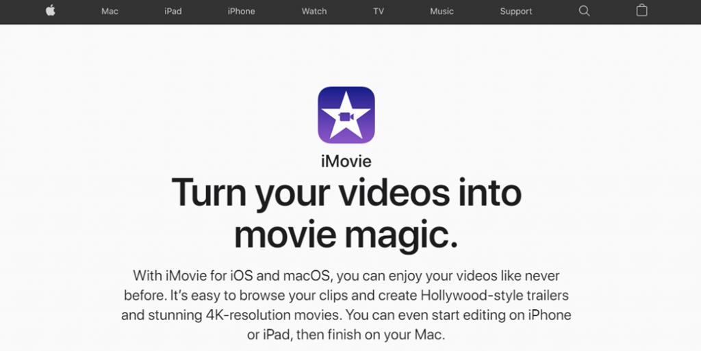 Apple iMovie homepage