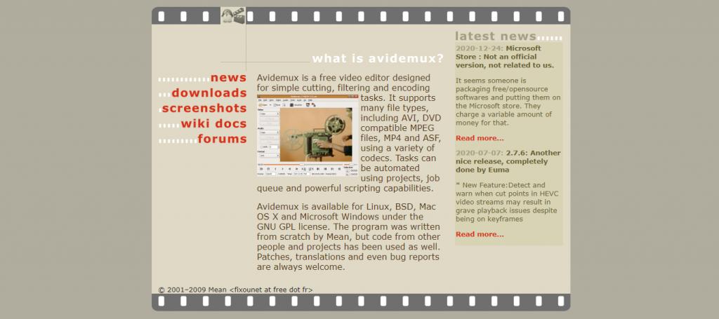 Avidemux homepage