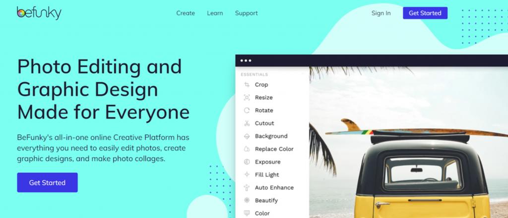 Befunky homepage