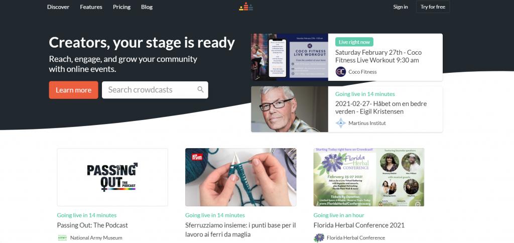 Crowdcast homepage