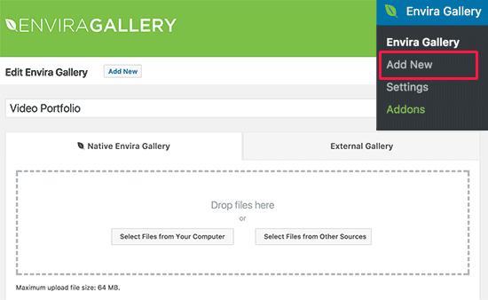 Envira Gallery add new