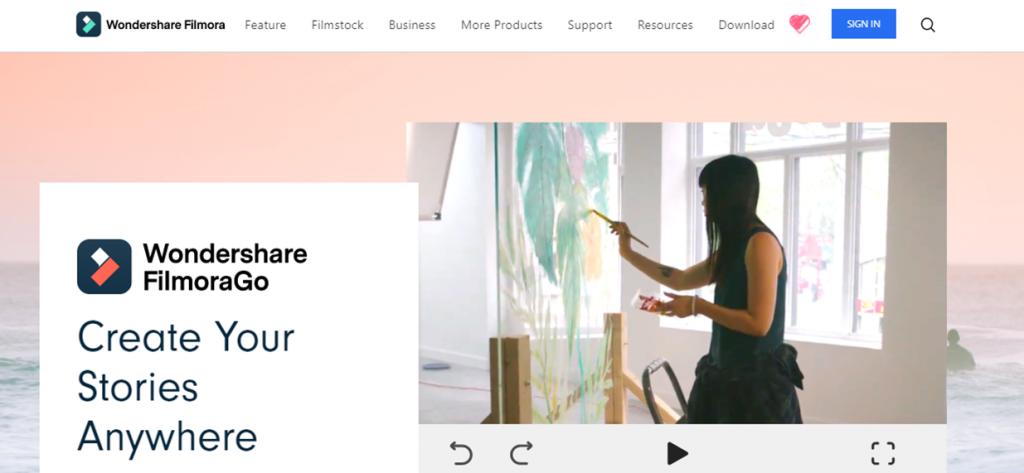 FilmoraGo homepage