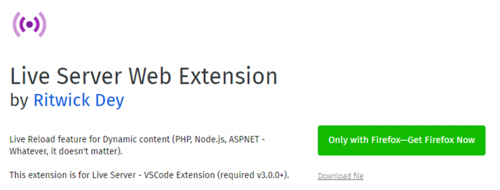 Live Server Web Extension icon and name