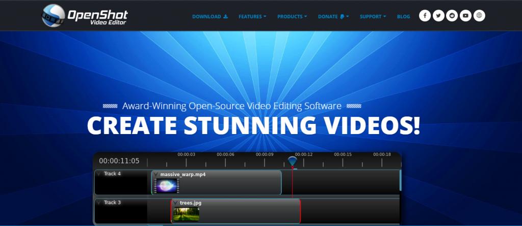 OpenShot homepage