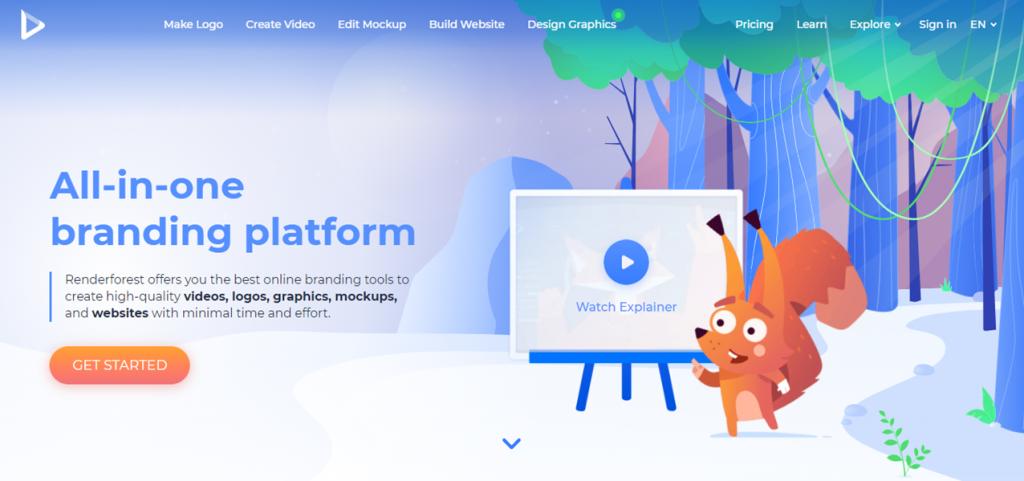 RenderForest homepage