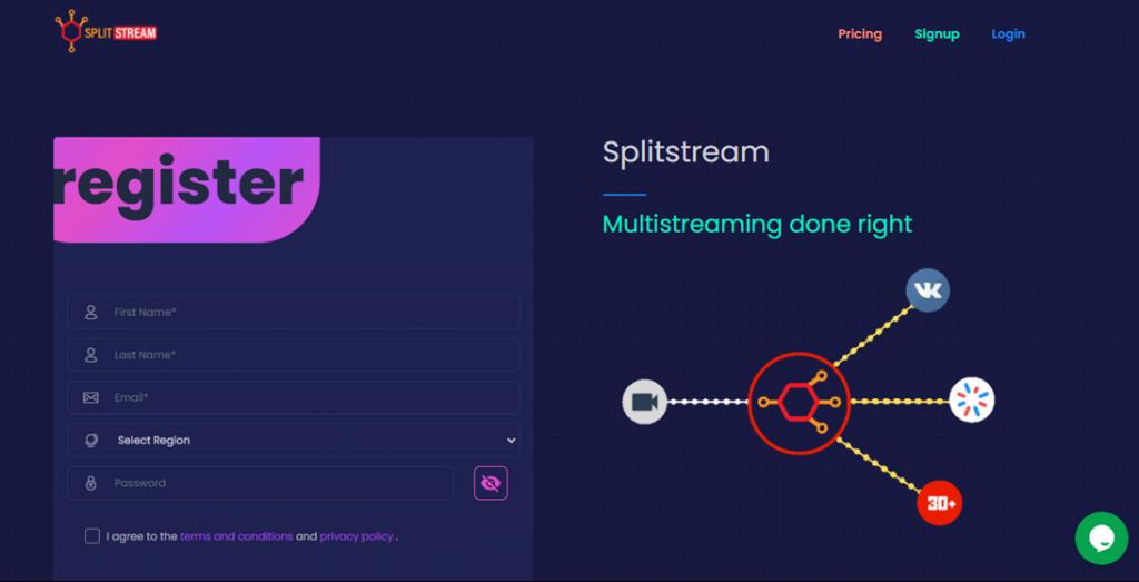 Splitstream homepage