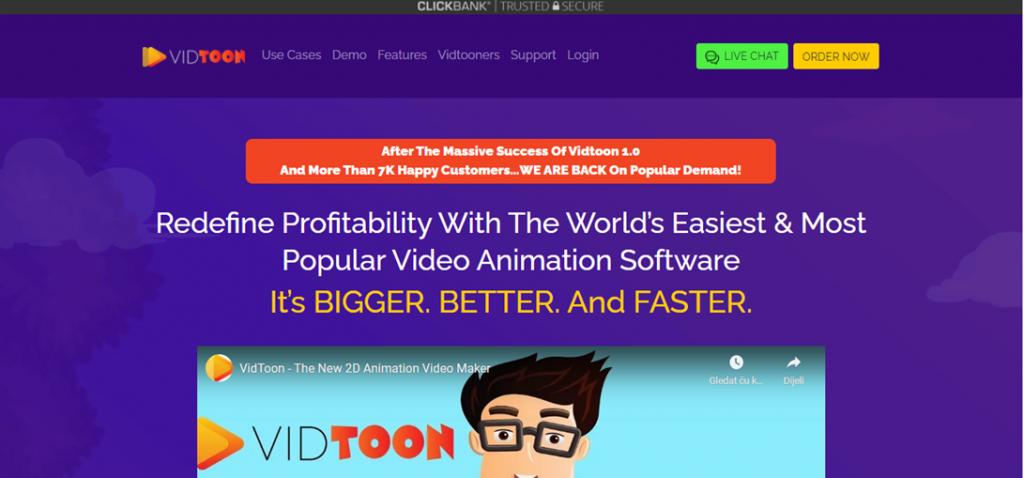 Vidtoon two homepage