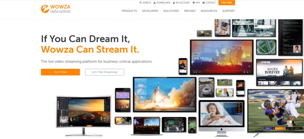 Wowza homepage