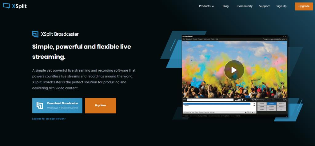 XSplit broadcaster homepage