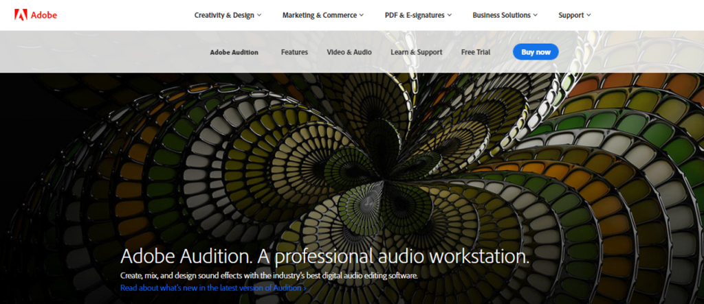 Adobe Audition homepage