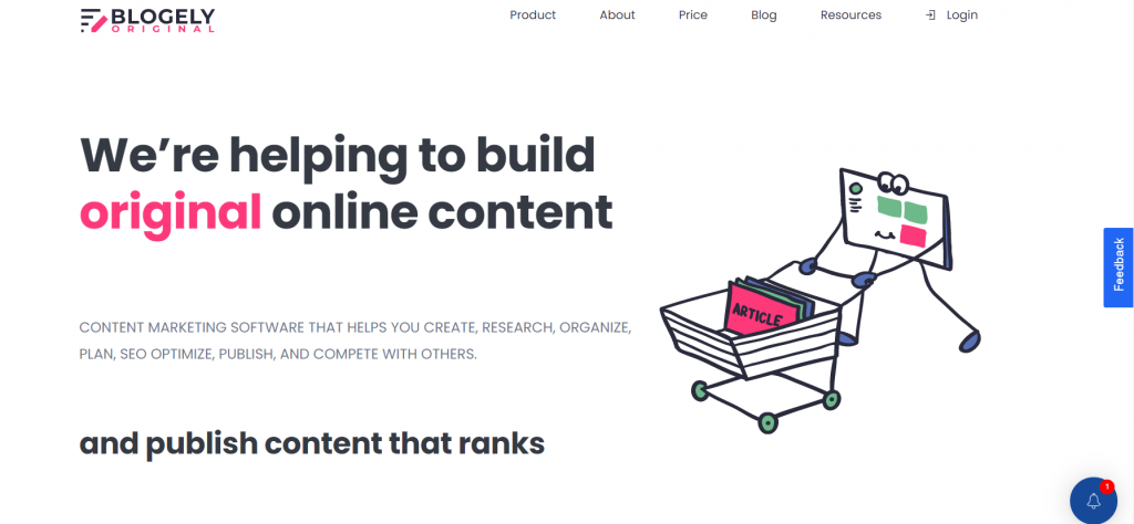 Blogely homepage