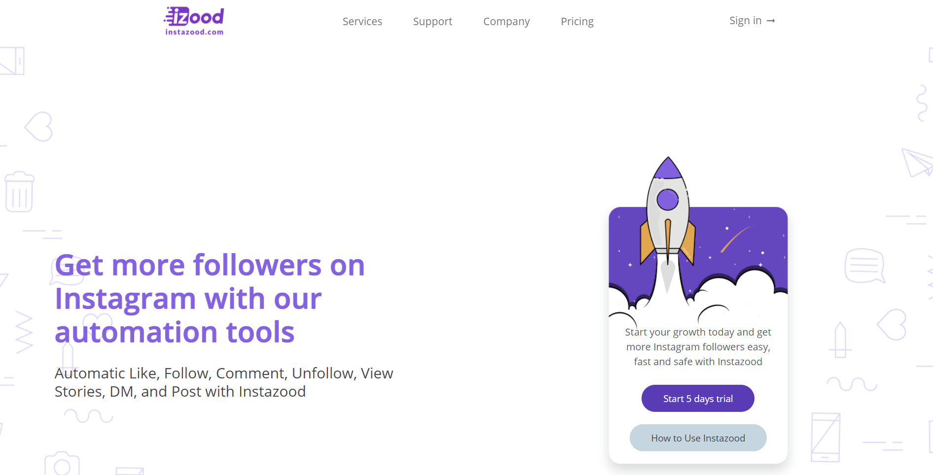 Instazood homepage
