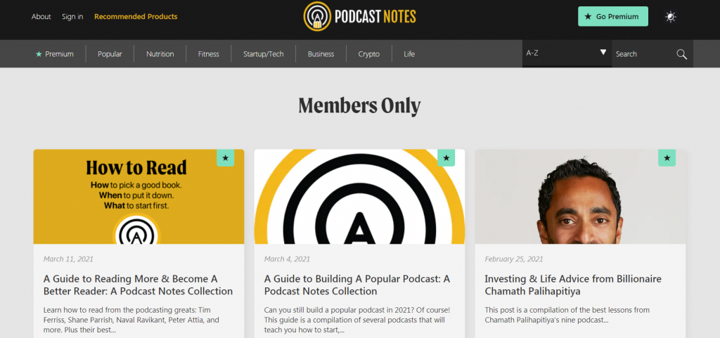 Podcast Notes Premium homepage