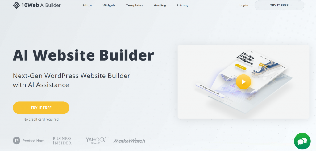 Ten AI Website Builder homepage
