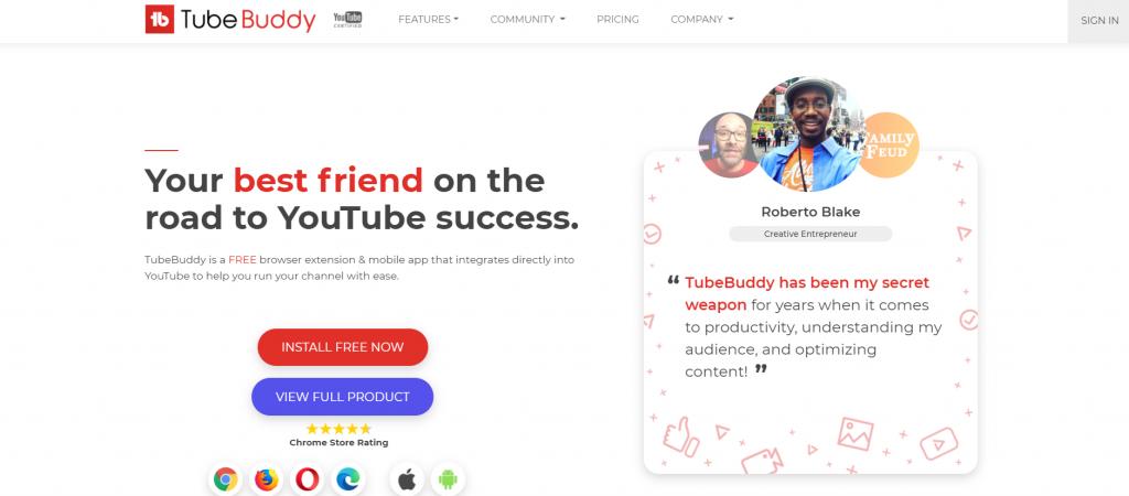 TubeBuddy homepage