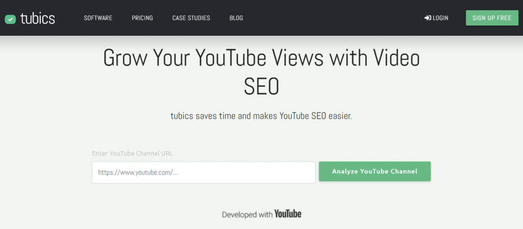 Tubics homepage