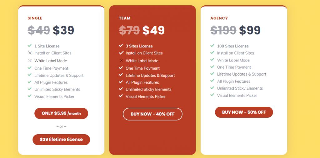WP Sticky pricing