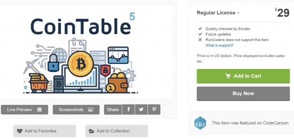 Coin Table on CodeCanyon