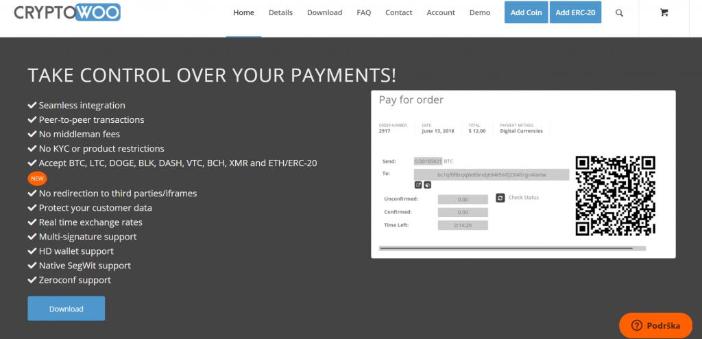 CryptoWoo homepage