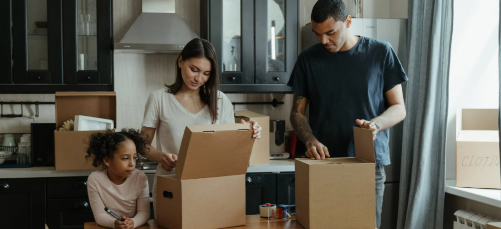 Image of family unboxing