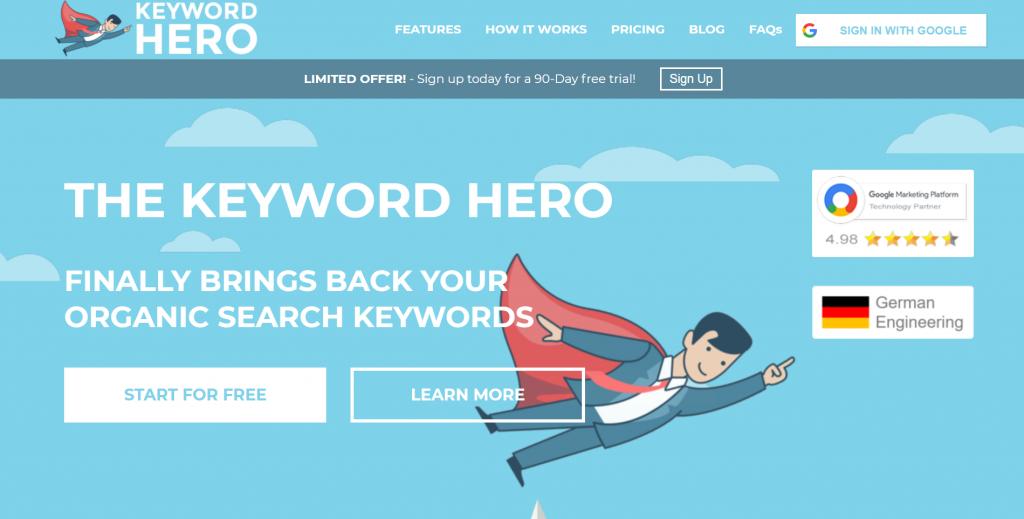 Keyword Hero homepage