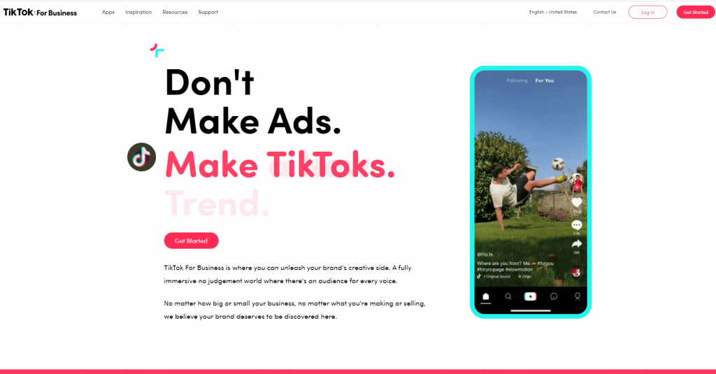 TikTok business homepage