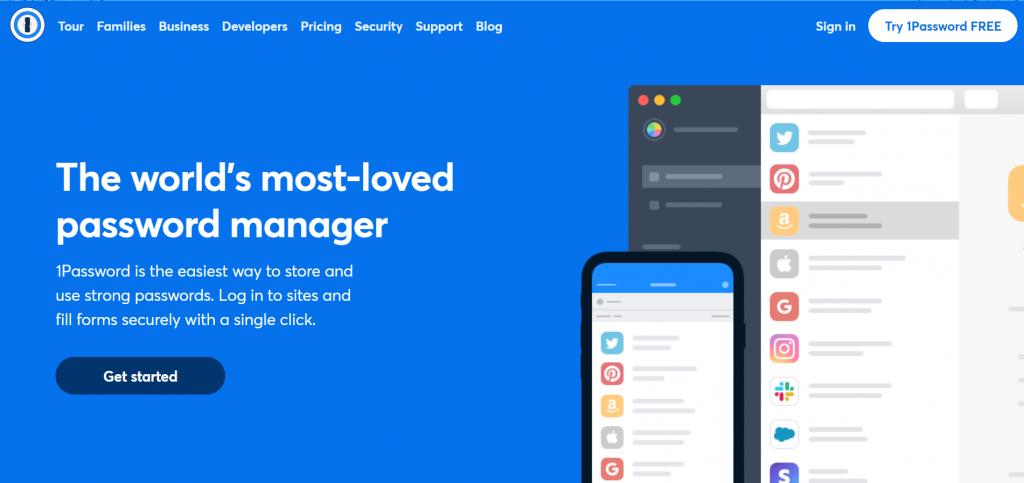 1Password homepage