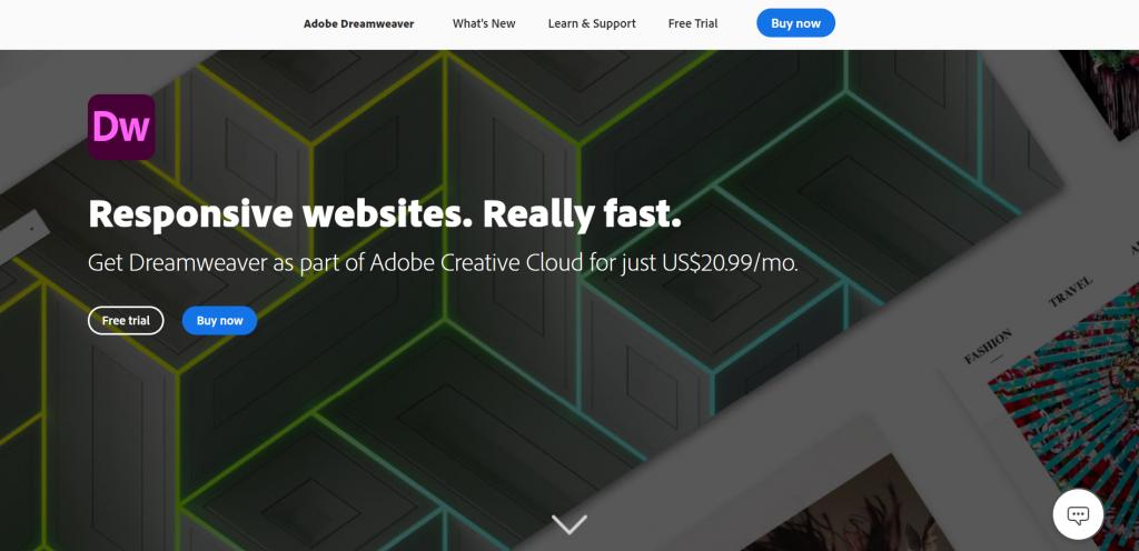 Adobe DreamWeaver homepage