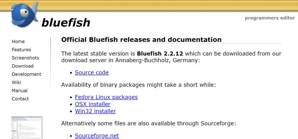 Bluefish homepage