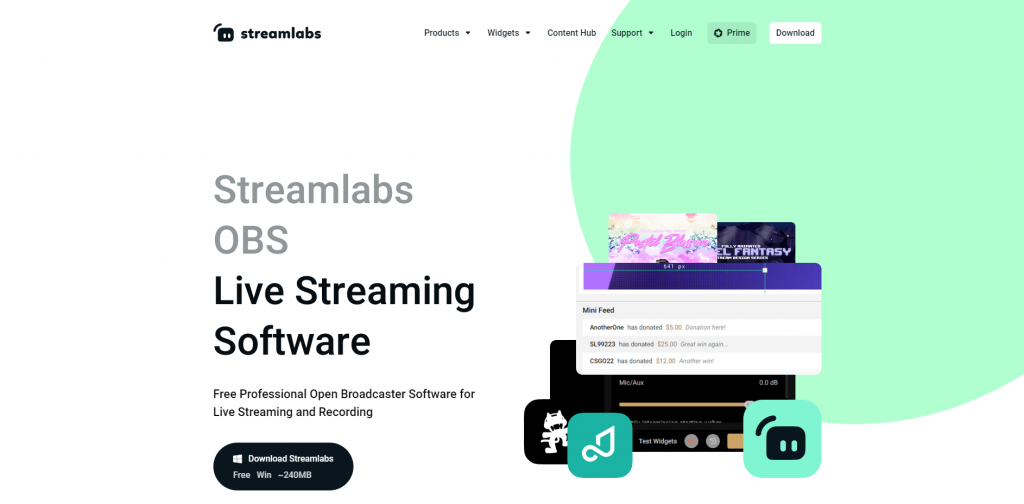 Streamlabs OBS homepage