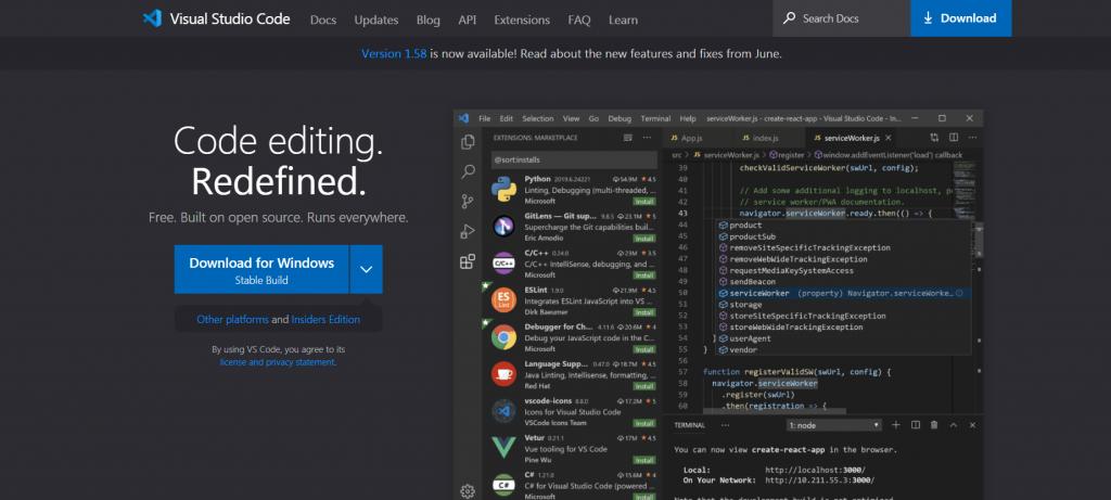 Visual Studio Code homepage