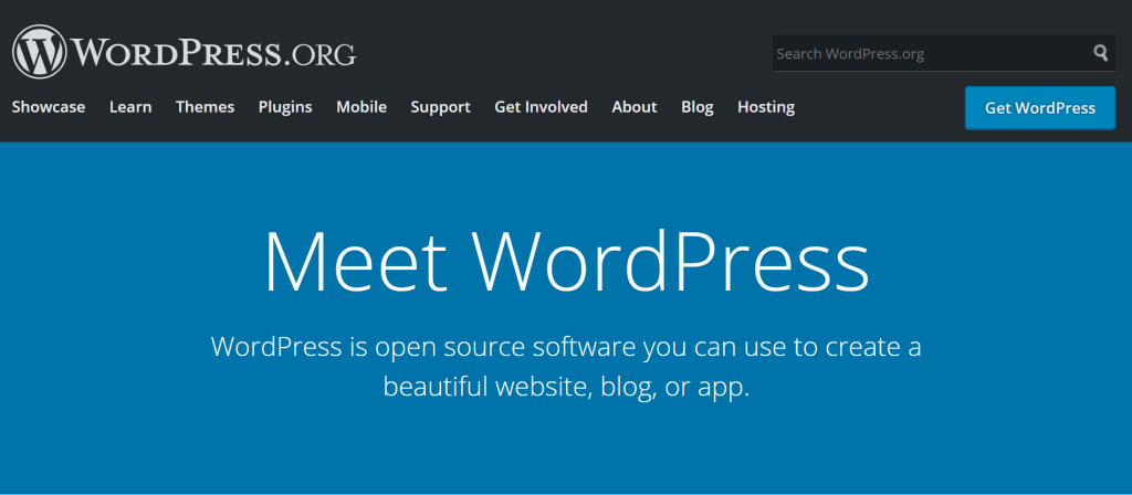 WordPress org homepage