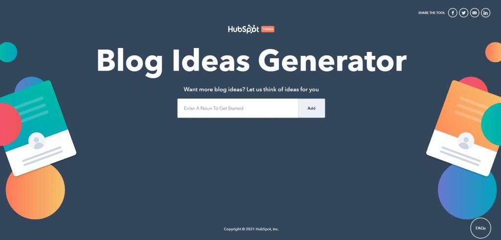 Hubspot Blog Idea Generator website