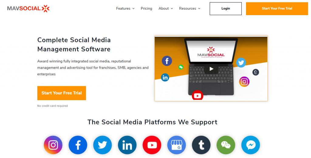 MavSocial homepage