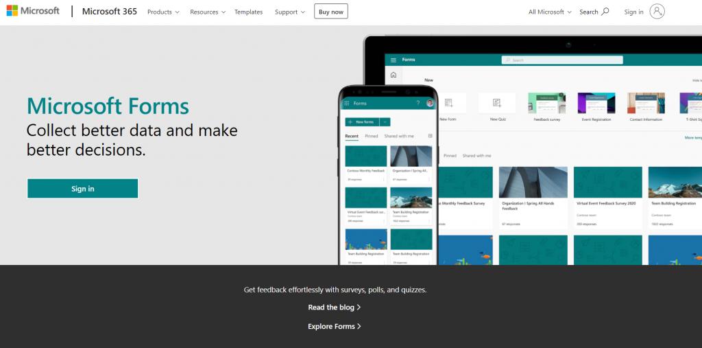 Microsoft Forms homepage