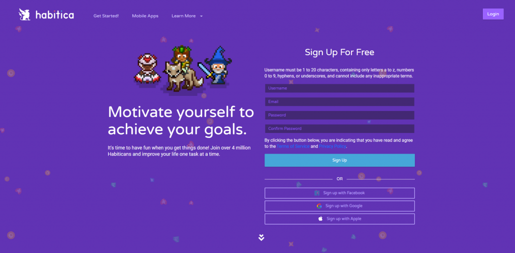 Habitica homepage